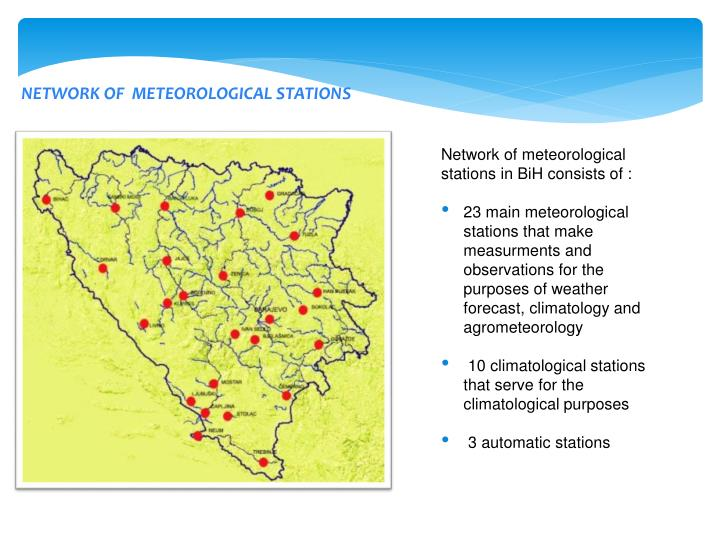 NETWORK OF  METEOROLOGICAL STATIONS