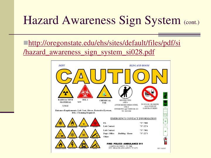 Hazard Awareness Sign System
