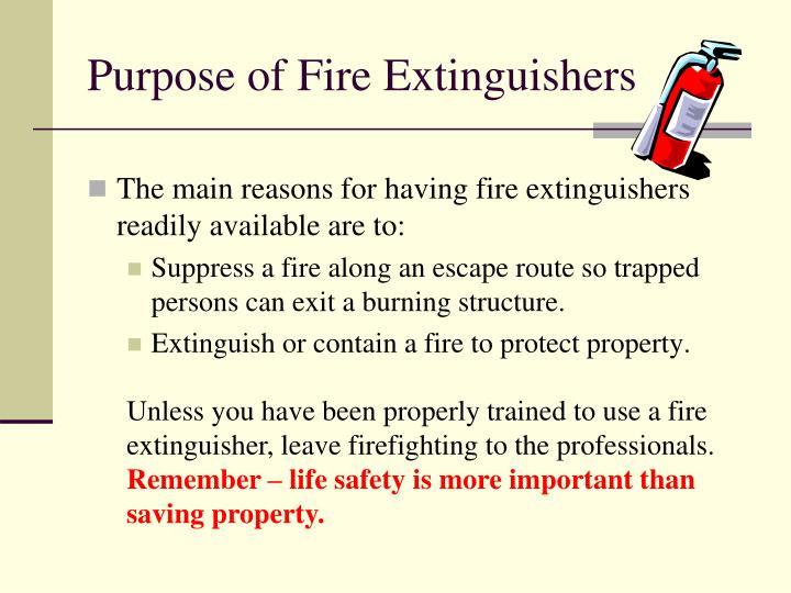Purpose of Fire Extinguishers