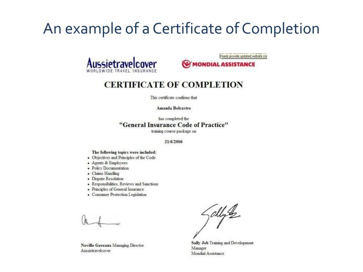 An example of a Certificate of Completion