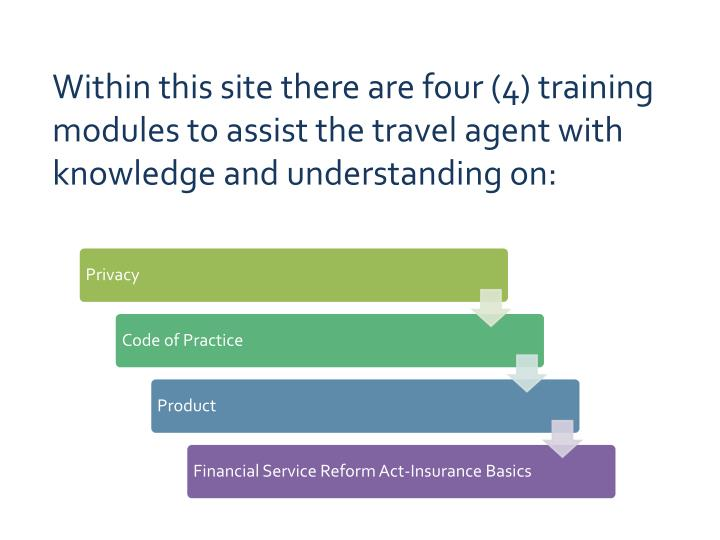 Within this site there are four (4) training modules to assist the travel agent with knowledge and understanding on: