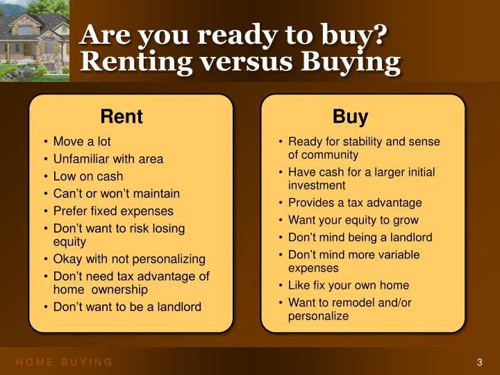 Are you ready to buy renting versus buying