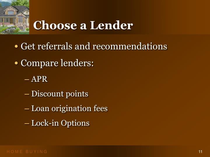 Choose a Lender