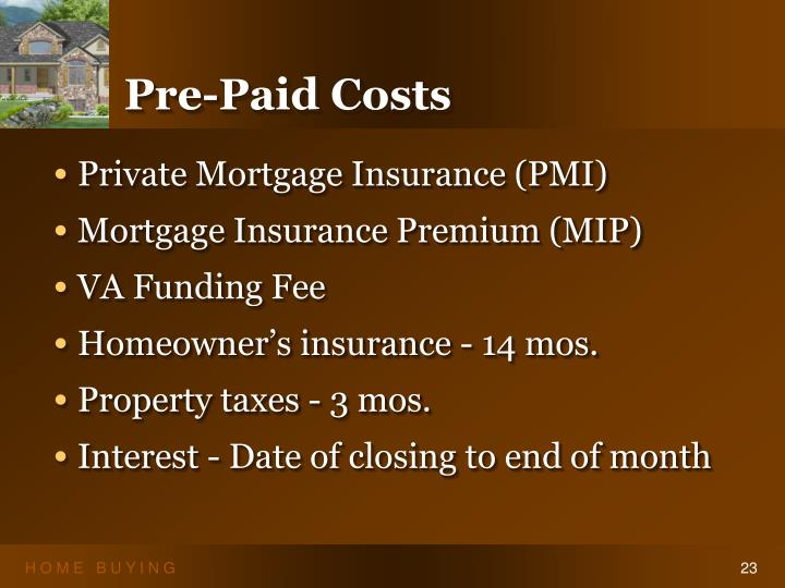 Pre-Paid Costs