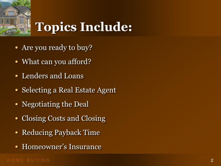 Topics include