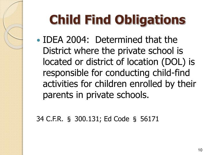 Child Find Obligations