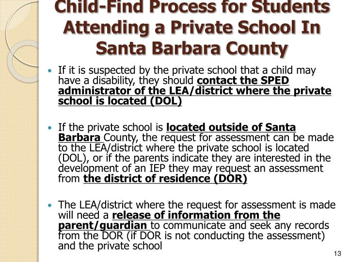 Child-Find Process for Students Attending a Private School In
