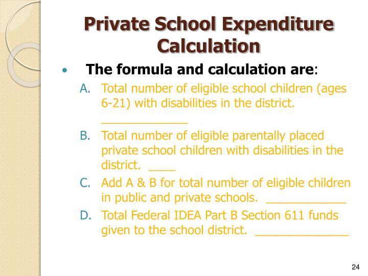Private School Expenditure Calculation