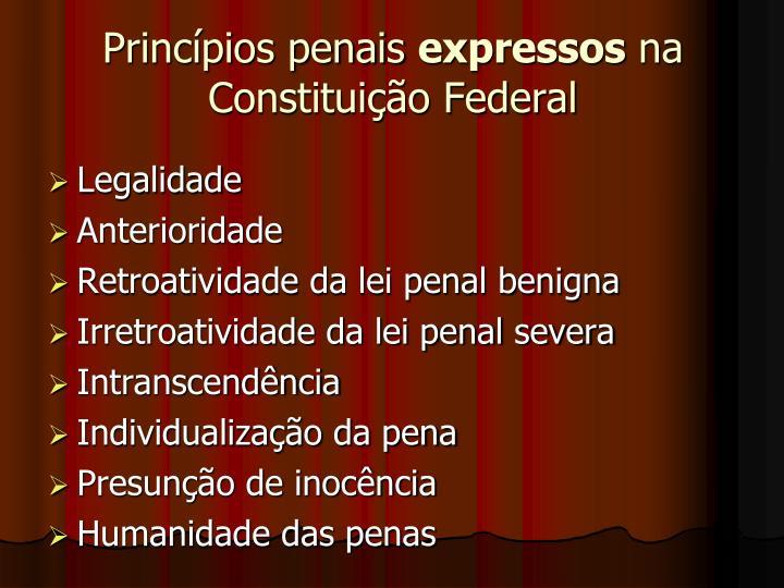 Princ pios penais expressos na constitui o federal