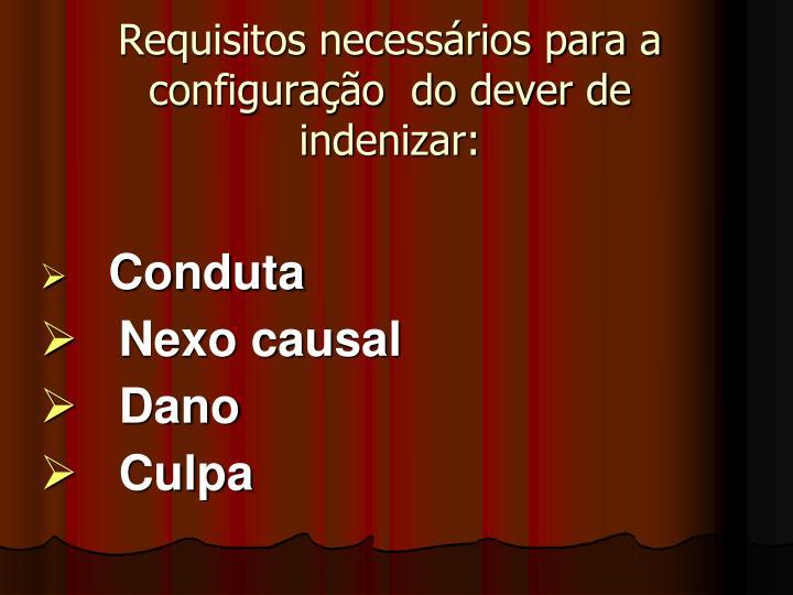 Requisitos necessários para a configuração  do dever de indenizar: