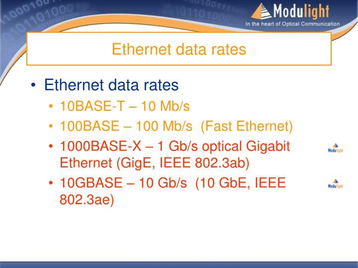 Ethernet data rates