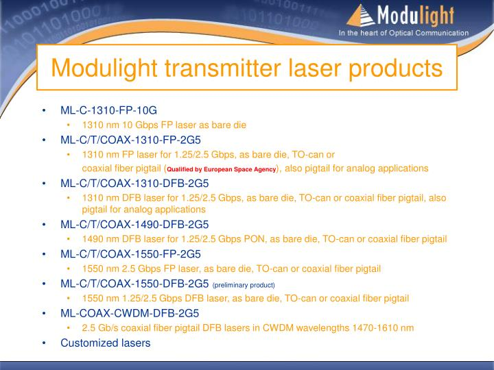 Modulight transmitter laser products