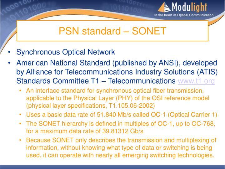PSN standard – SONET