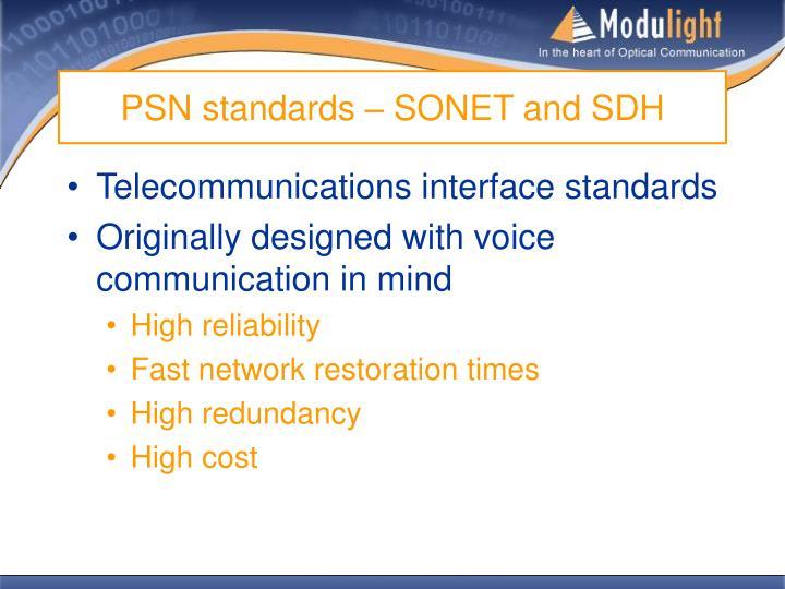 PSN standards – SONET and SDH