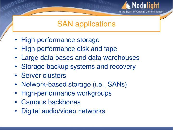 SAN applications