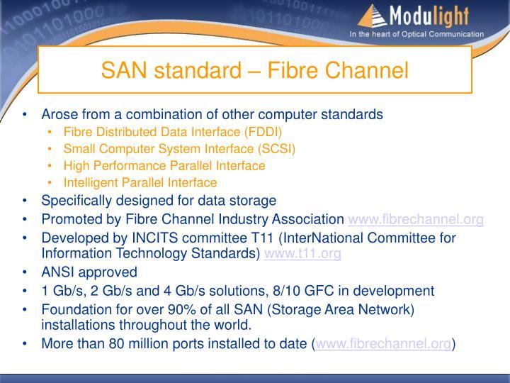 SAN standard – Fibre Channel