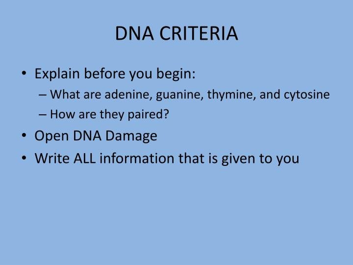DNA CRITERIA