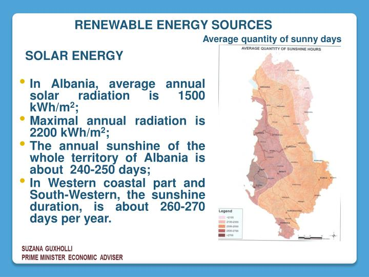 In Albania, average annual solar radiation is 1500 kWh/m