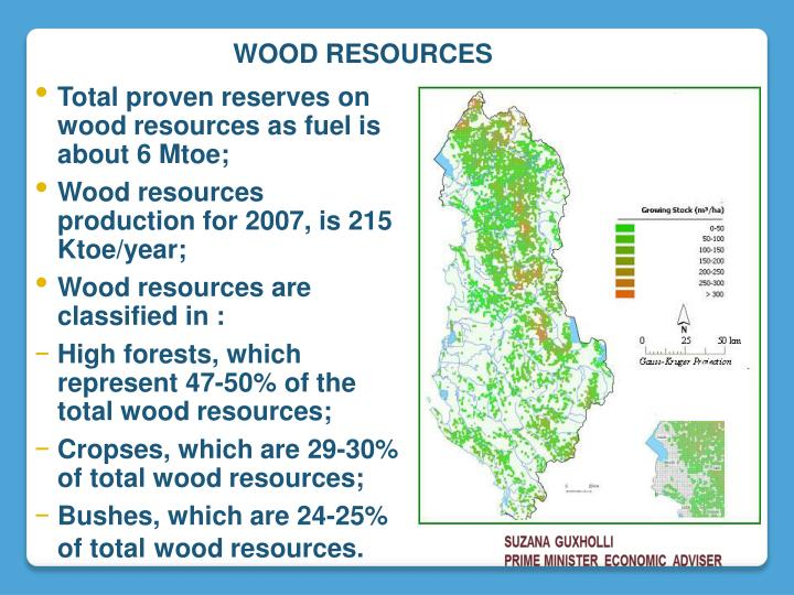 Total proven reserves on wood resources as fuel is about 6 Mtoe;