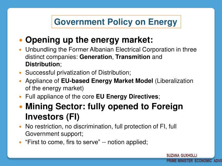 Opening up the energy market: