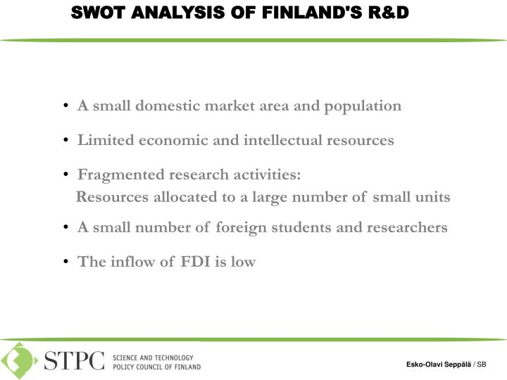 SWOT ANALYSIS OF FINLAND'S R&D