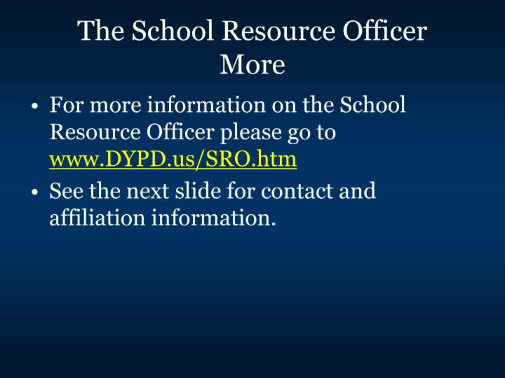 The School Resource Officer
