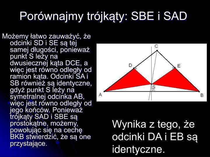 Porównajmy trójkąty: SBE i SAD