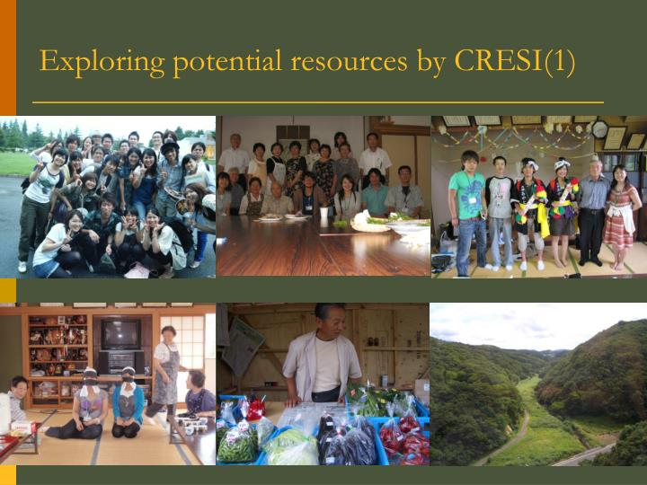 Exploring potential resources by CRESI(1)