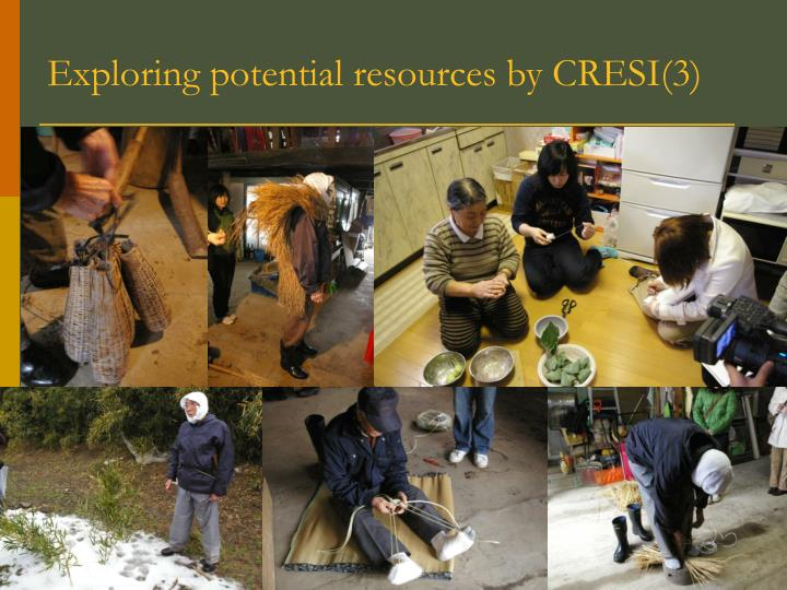 Exploring potential resources by CRESI(3)