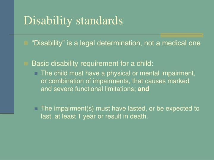 Disability standards