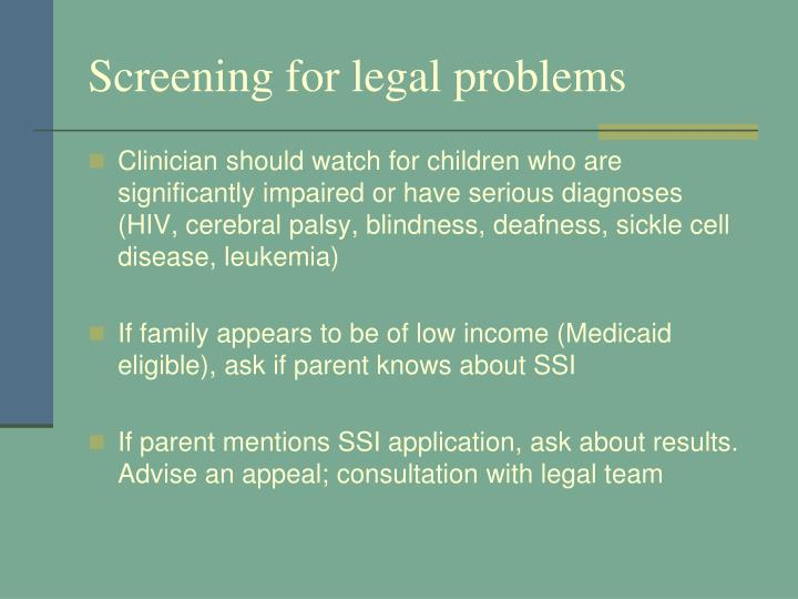 Screening for legal problems