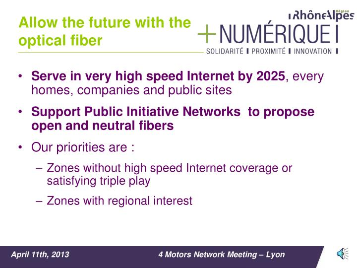 Allow the future with the optical fiber