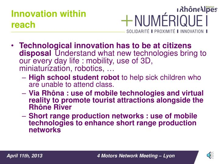 Innovation within reach