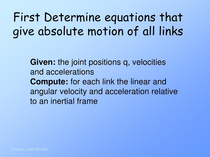 First Determine equations that give absolute motion of all links