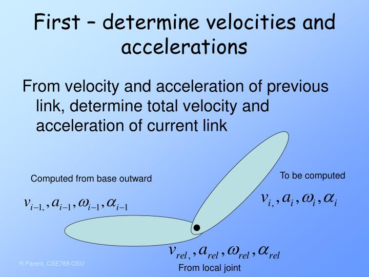 First – determine velocities and accelerations