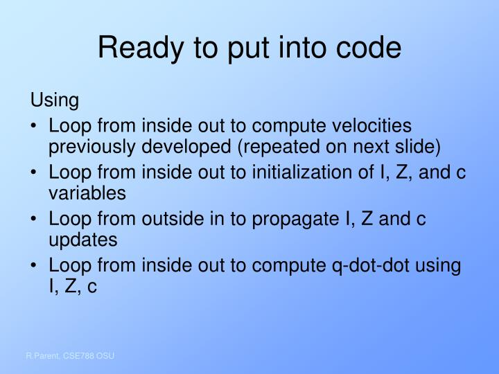 Ready to put into code
