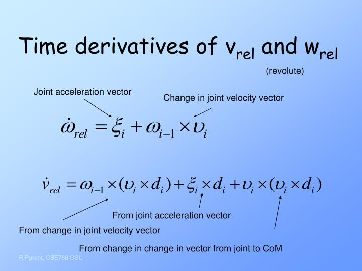 Time derivatives of v
