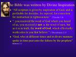 the bible was written by divine inspiration