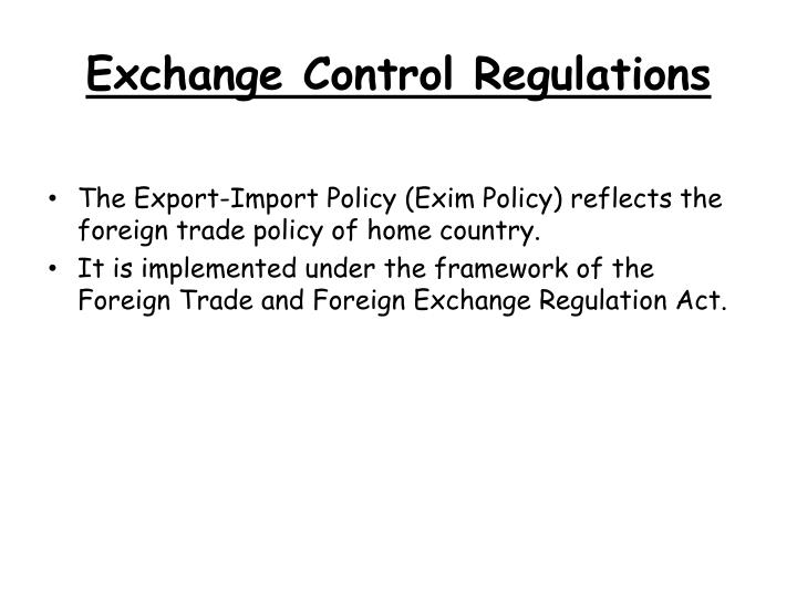 Exchange Control Regulations