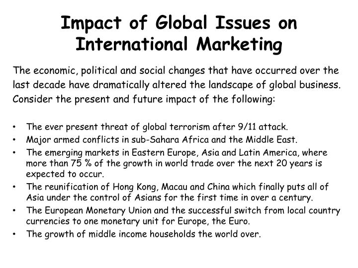 Impact of Global Issues on International Marketing