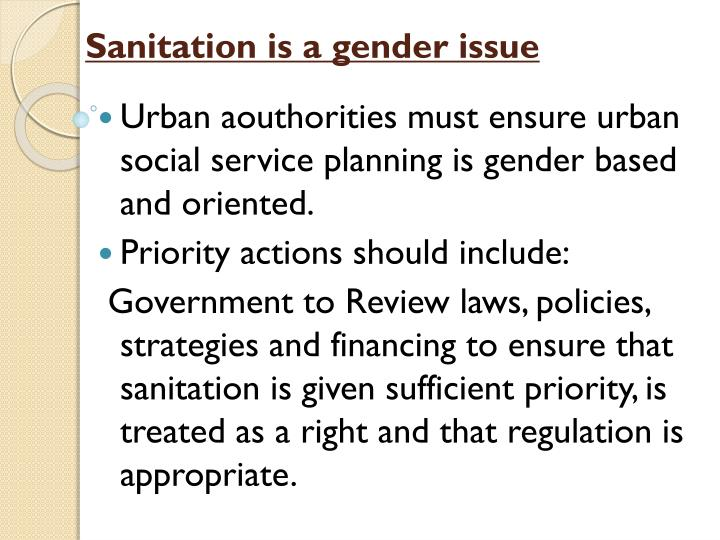 Sanitation is a gender issue