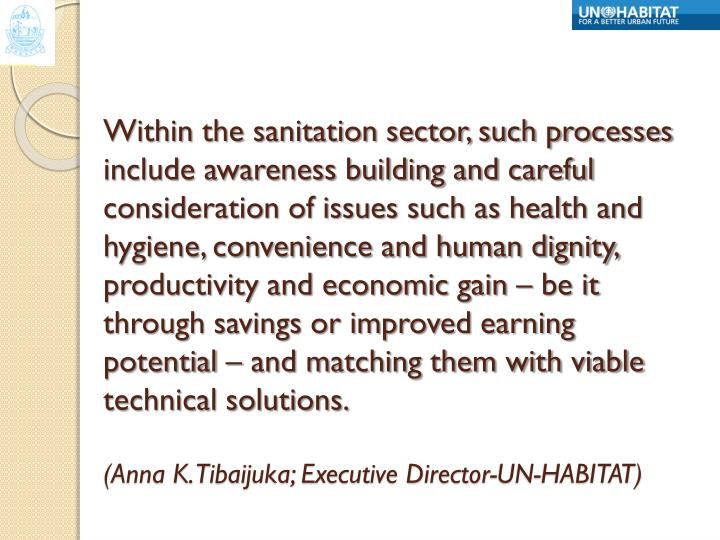 Within the sanitation sector, such processes include awareness building and careful consideration of issues such as health and hygiene, convenience and human dignity, productivity and economic gain – be it through savings or improved earning potential – and matching them with viable technical solutions.