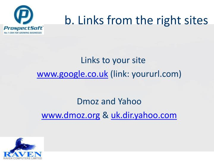 b. Links from the right sites