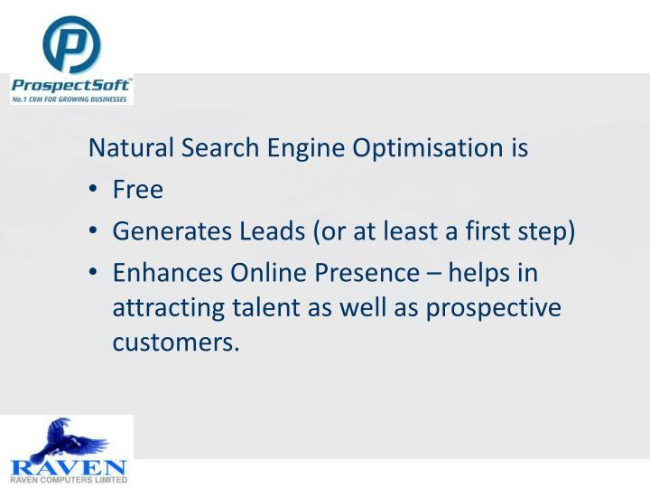 Natural Search Engine Optimisation is