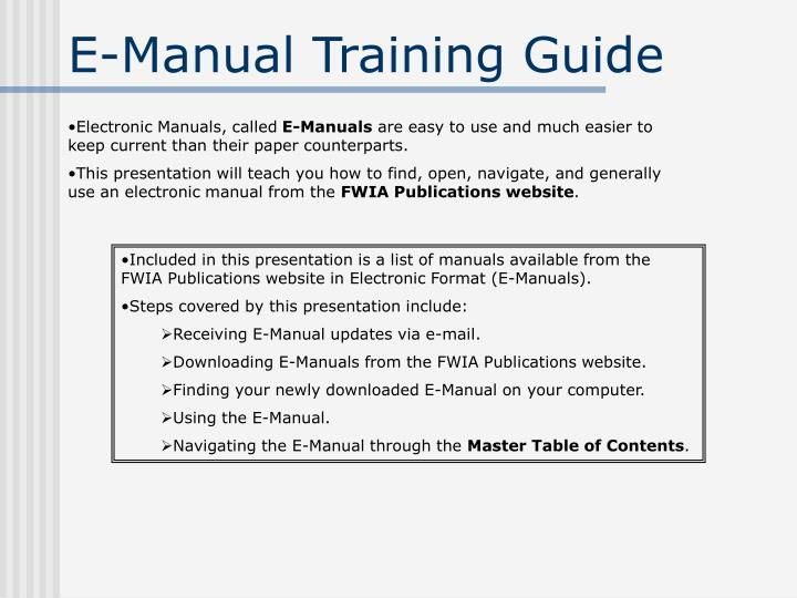 ppt e manual training guide powerpoint presentation id 5006208