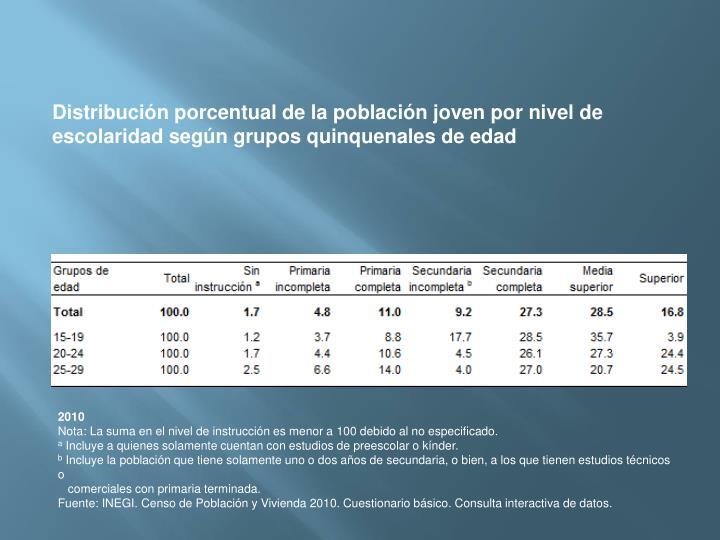 Distribución porcentual de la población joven por nivel de escolaridad según grupos quinquenales de edad