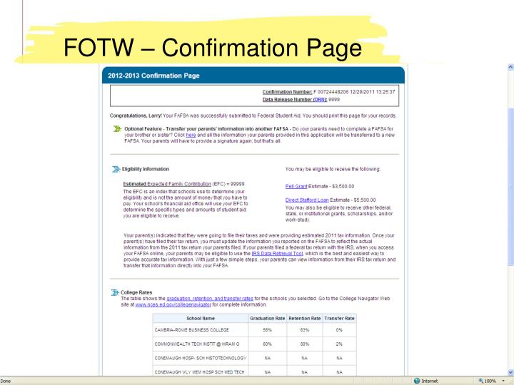 FOTW – Confirmation Page