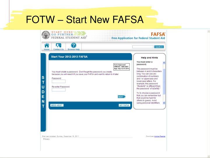 FOTW – Start New FAFSA