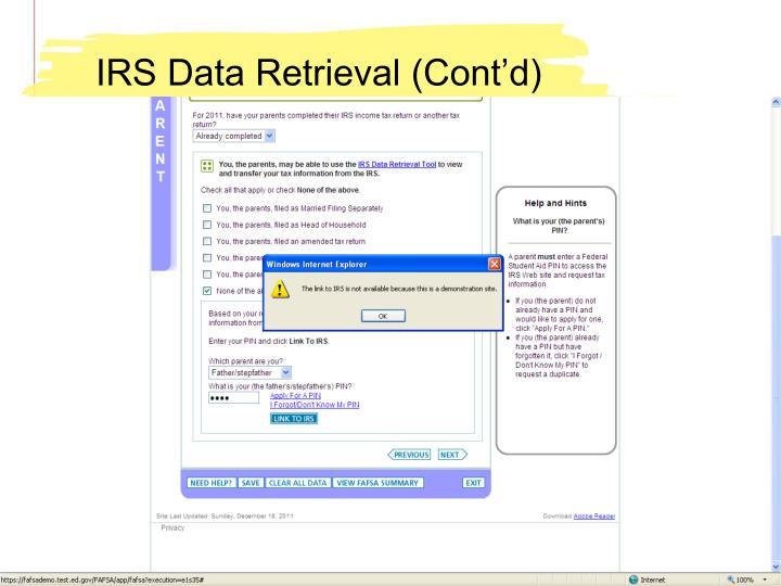 IRS Data Retrieval (Cont'd)