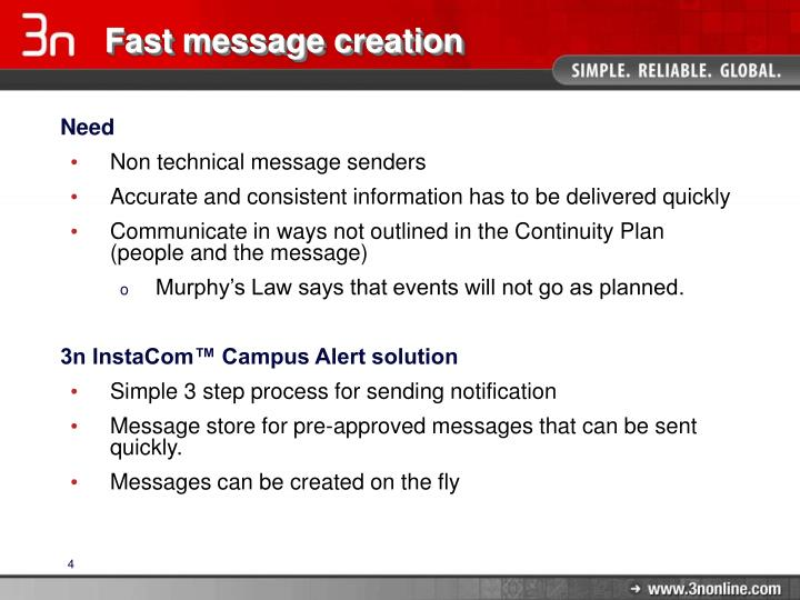 Fast message creation